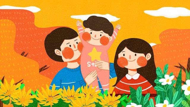 家族のchongyang festivalは、デイジー、秋、かわいい、シンプル、フラット、オリジナルのイラストを楽しんでいます イラストレーション画像 イラスト画像