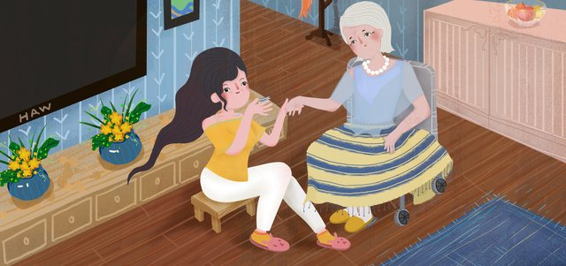 double ninth festival 할아버지 추수 감사절 효도 행복 편한 일러스트레이션 cute cartoon 삽화 소재