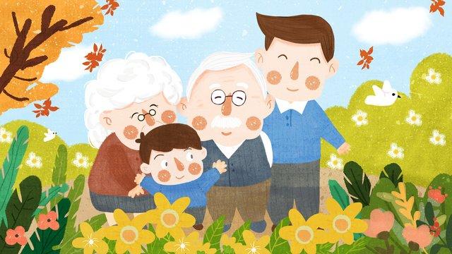 ダブルナインスマウンテンクライミングおばあちゃんおじいちゃんお父さんリトルキッズクライミングマウンテンイラストレーション イラスト素材