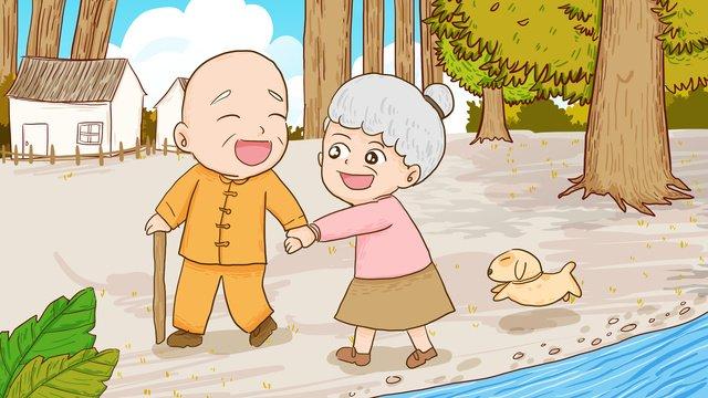 Два старика на фестивале double ninth гуляют в лесу ручная роспись оригинальные иллюстрации Ресурсы иллюстрации