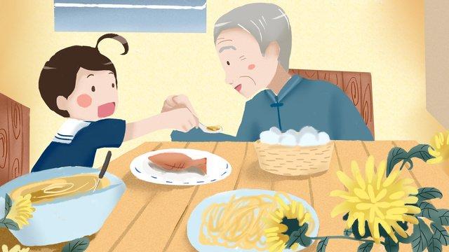국화와 저녁 식사를 즐길 수있는 double ninth festival과 할아버지 삽화 소재