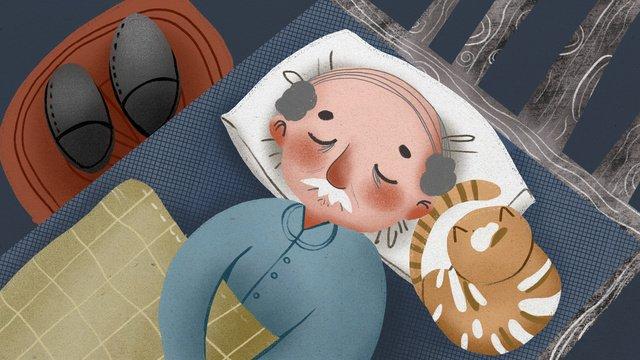 chongyang festivalで眠っている老人の温かくて素敵なイラスト イラスト素材 イラスト画像