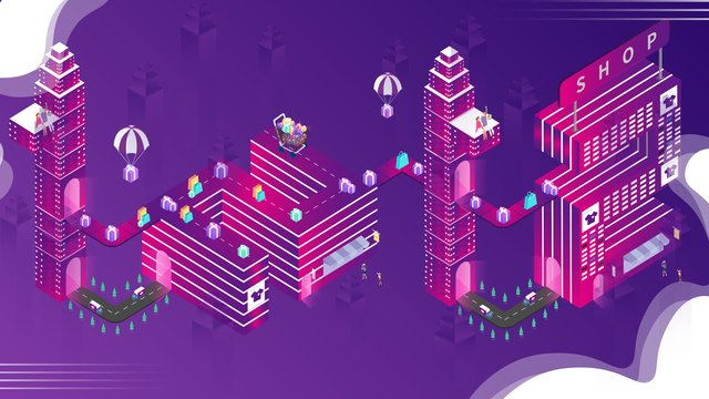 Small fresh purple gradient double twelve 2.5d illustration, Double Twelve, Shopping, Balloon illustration image