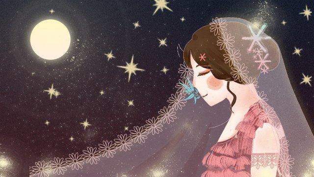 月明かりの夜の下でウェディングドレスを着て夢のような美しい女の子 イラストレーション画像