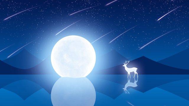 Dreamy moon elk illustration, Dream, Elk, Deer illustration image