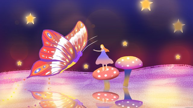 Simple and fresh healing wind dream butterfly illustration, Dream, Quiet, Mushroom illustration image