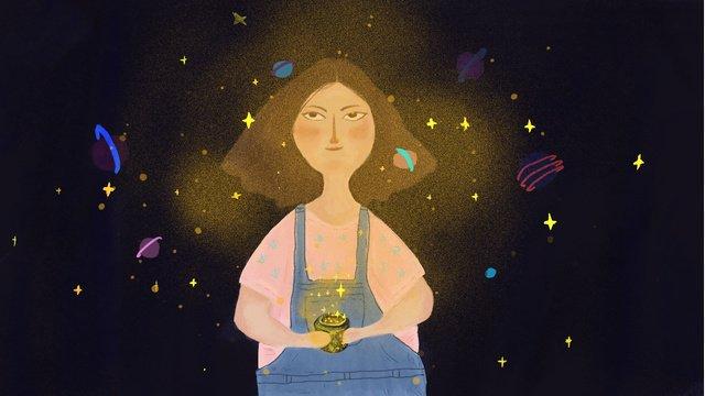 Simple and fresh healing system dreams fairyland fairy girl star scene illustration, Dream, Star, Fairy Tale illustration image