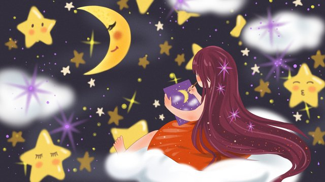 A fresh illustration of girl who dreams painting on the clouds, Dream, Starry Sky, Cloud Layer illustration image