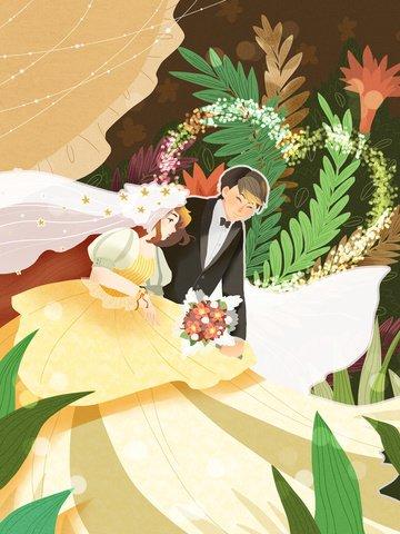 夢の結婚式の美しい男性と女性の幸せな結婚式ロマンチックな イラスト素材