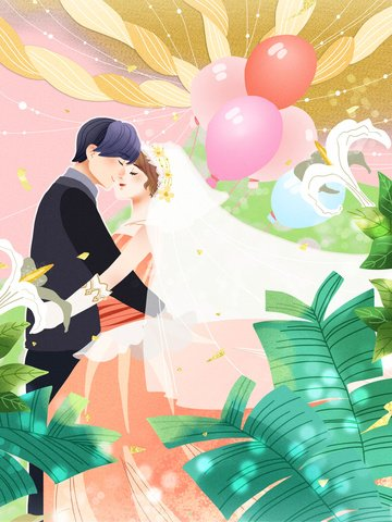 Fantasy wedding happiness men and women balloon bubble lily happy life llustration image illustration image