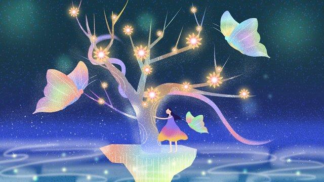 꿈꾸는 꿈의 나무 삽화 소재 삽화 이미지