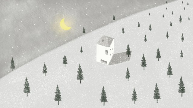 Simple and fresh cure mori dream snow scene illustration, Dreamland, Forest, House illustration image