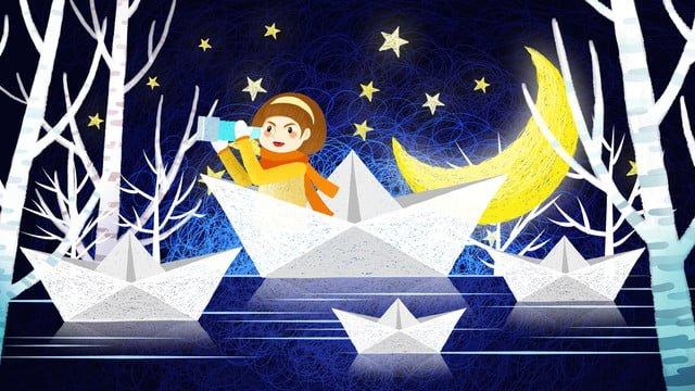 Fantasy healing boat sailing star coil illustrator, Dreamy Coil Illustration, Fantasy Starry Sky Illustration, Coil Illustration illustration image
