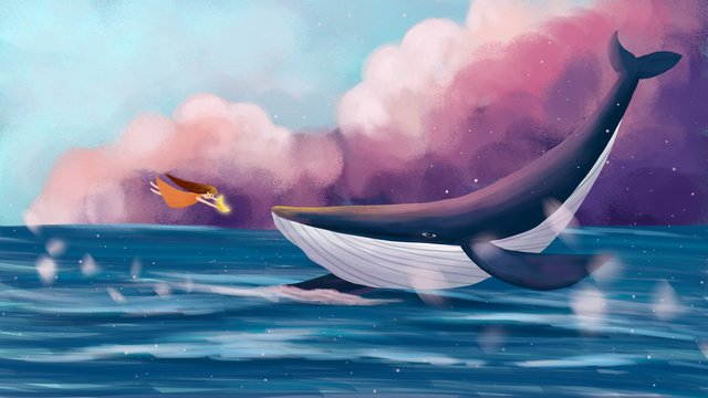 Dreamy healing whale with girl hand drawn illustration, Dreamy Healing Whale With Girl Hand Drawn Illustration, Dreamy Sky Hand Drawn Illustration Background, Dream Cloud illustration image