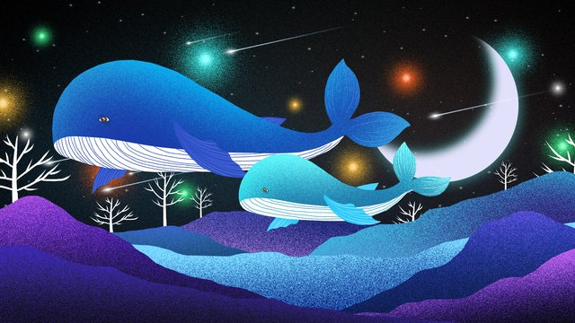 Dreamy night sky healing whale dream illustrator, Dreamy Whale Illustration, Dream Illustration, Healing Dream Illustration illustration image