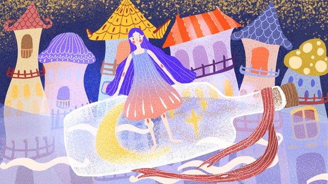 女の子とドリフトボトル イラストレーション画像