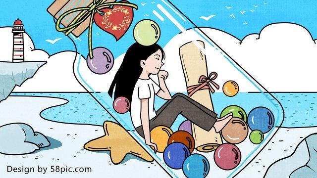 Original hand-drawn illustration of girl and drift bottle under blue sky white clouds, Drifting Bottle, Girl, Dream illustration image