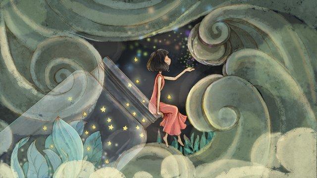 healing drift bottle girl Ресурсы иллюстрации