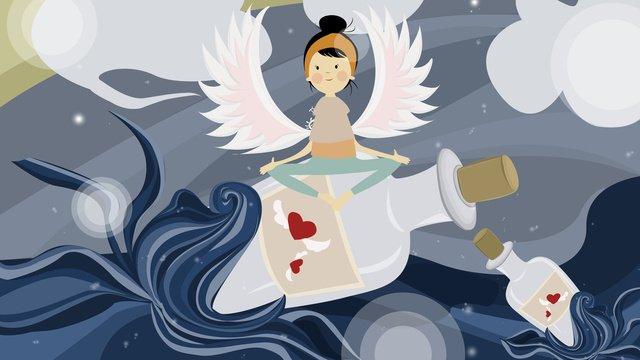 Drift bottle with girl blue sea hand drawn illustration, Drifting Bottle, Girl, Wing illustration image