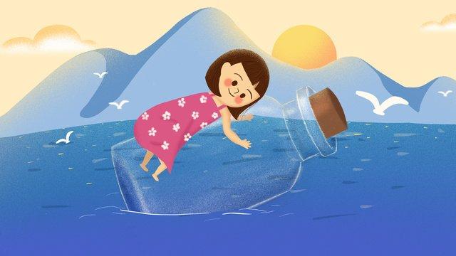 癒しのドリフトボトルリトルガール手描きイラストポスター イラストレーション画像