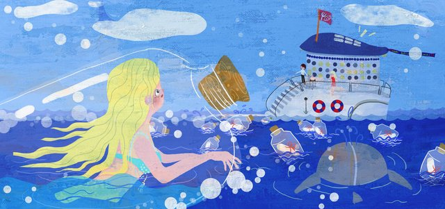 Heal girl with drifting bottle sea cruise ship hope illustration flat cartoon, Drifting Bottle, Teenage Girl, Maritime illustration image
