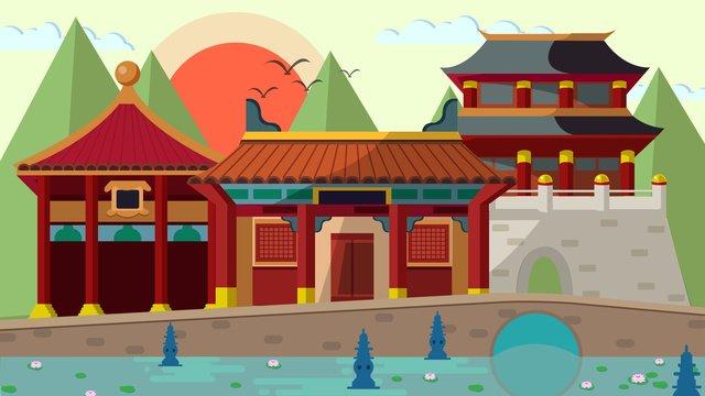 シンプルな雰囲気の漫画フラット風中国風の古代建築 イラスト素材