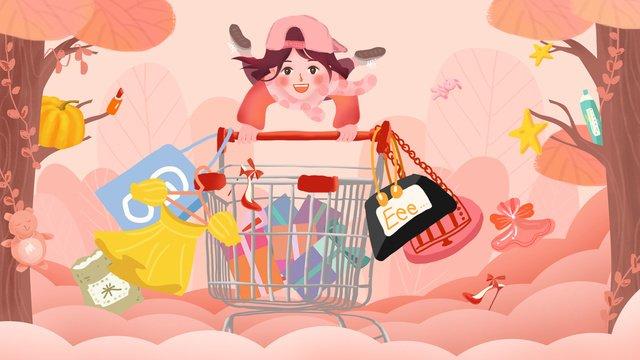 Original hand painted illustration e commerce carnival girl shopping llustration image