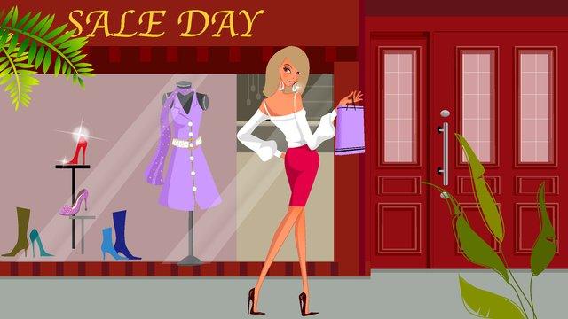 eコマースカーニバルショッピングファッションの女の子のベクトル図 イラスト素材
