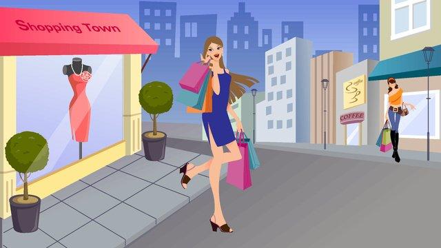 eコマースカーニバルショッピングシーンファッション女の子ショッピング街のベクトル図 イラスト素材