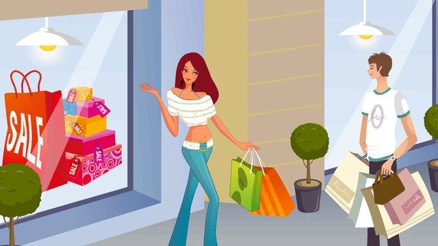 E-commerce carnival shopping scene fashion men and women vector illustration, E-commerce Carnival, Shopping Scene, Fashion Men And Women illustration image