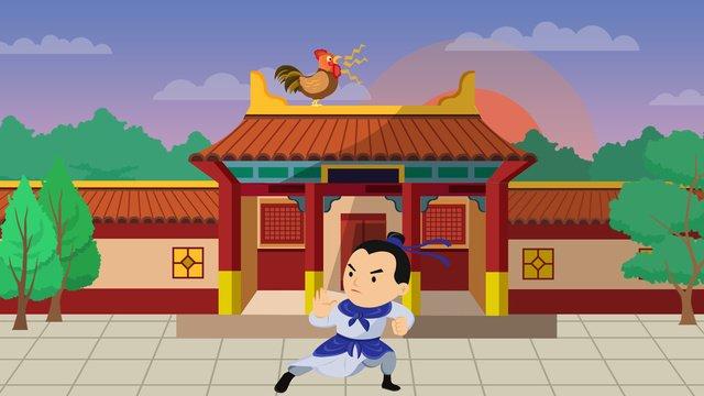可愛卡通清晨古代人物聞雞起舞成語故事插畫 插畫素材 插畫圖片