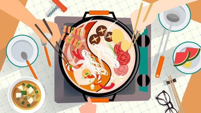Еда друзей в горячем горшке собирающих обед Ресурсы иллюстрации Иллюстрация изображения