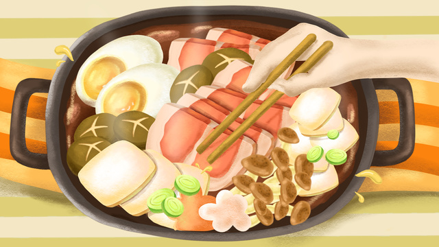 eat delicious and tempting hot pot llustration image
