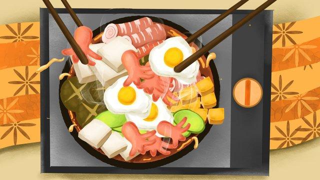 Еда горячей посуды Ресурсы иллюстрации