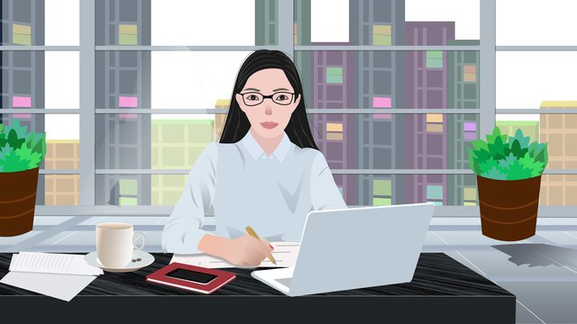 elegant lady business office scene illustration llustration image illustration image