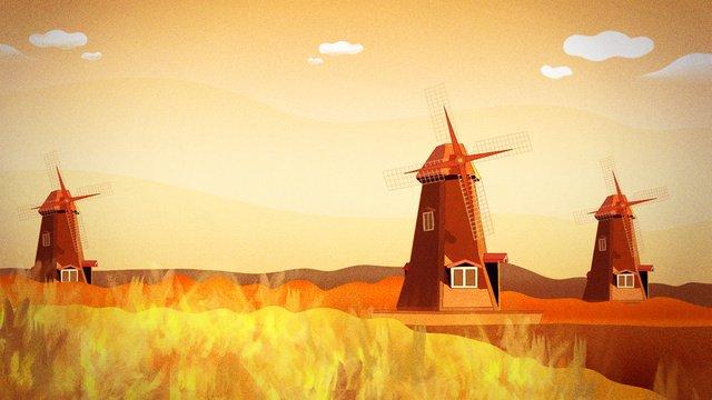 November nature grassland windmill netherlands llustration image