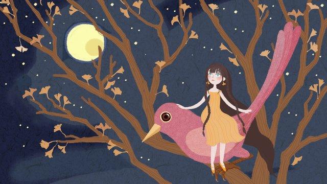 9月、こんにちは木、赤い鳥の少女とウサギ イラストレーション画像
