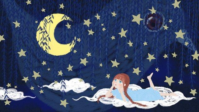 sleepwalking wonderland   девушка смотрит на луну облаках Ресурсы иллюстрации Иллюстрация изображения