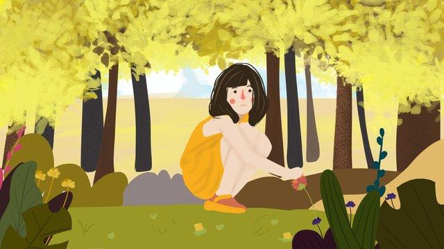 Autumn hello beautiful romantic little girl in the flowers, Fall, Autumn, Beautiful illustration image