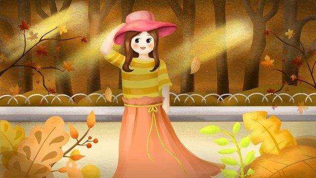 秋の女の子、こんにちは、11月 イラスト素材