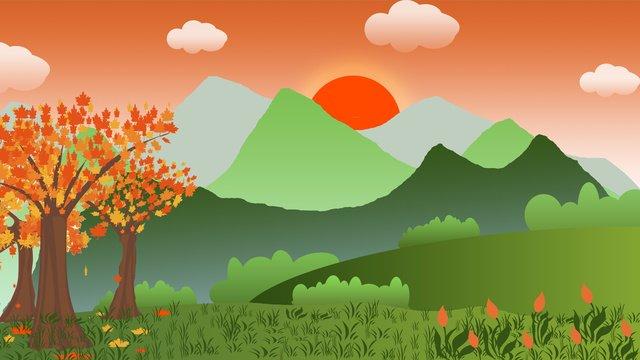 पहाड़ पर शाम का सूर्यास्त चित्रण छवि