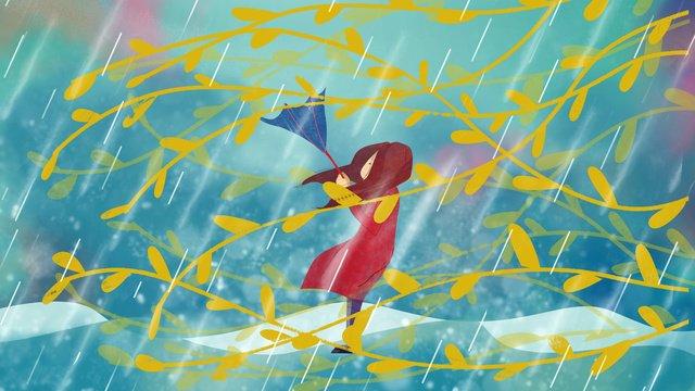 Autumn hello rain umbrella girl, Fall, Autumn Rain, Umbrella illustration image
