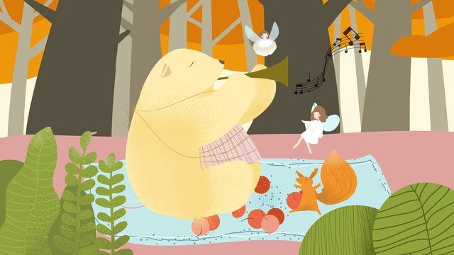 Small fresh illustration autumn hello concert in the forest, Fall, Autumn, Small Animals illustration image