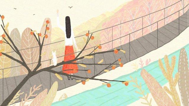 Autumn hello original illustration, Fall, Autumn, Teenage Girl illustration image