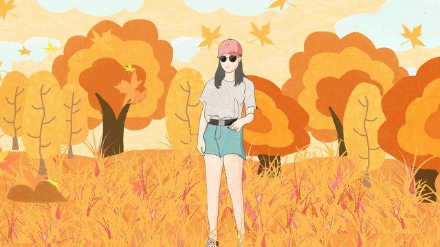가을 야외 풍경 그림 삽화 소재