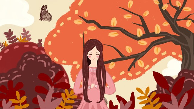 fall Autumnal festival Solar terms, Girl, Illustration, Painting illustration image