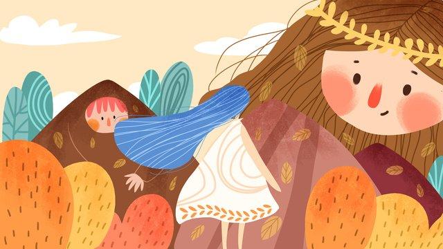 Autumn hello creative illustration, Fall, Creative, Lovely illustration image