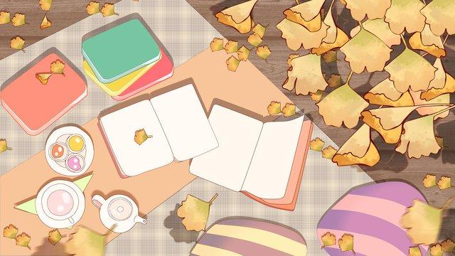 mùa thu bạch quả lá trà đọc sách cắm trại ấm áp chữa bệnh màu Hình minh họa Hình minh họa