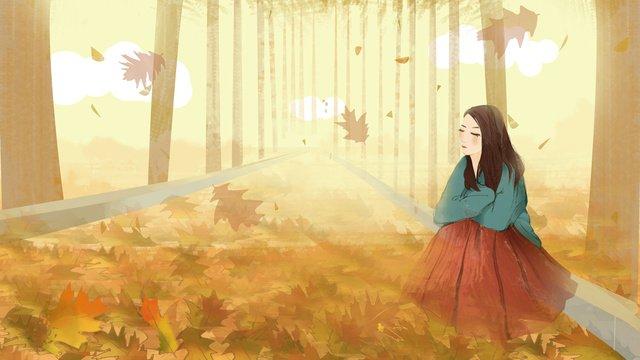 Autumn hello deciduous garden girl, Fall, Fallen Leaves, Boulevard illustration image