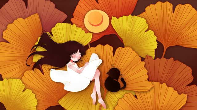 Simple fresh yellow fallen leaves ginkgo girl autumn hello illustration, Fall, Fallen Leaves, Girl illustration image